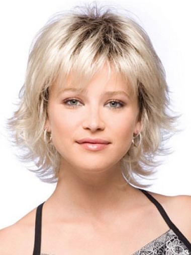 Comfortable Blonde Straight Chin Length Synthetic Wigs