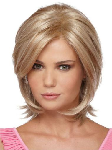 Flexibility Blonde Straight Chin Length Synthetic Wigs