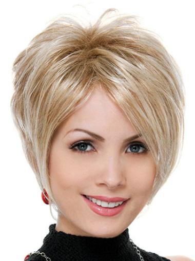 High Quality Blonde Straight Short Synthetic Wigs