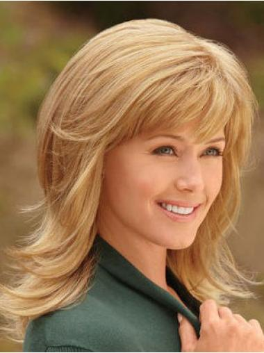 Polite Blonde Straight Shoulder Length Synthetic Wigs