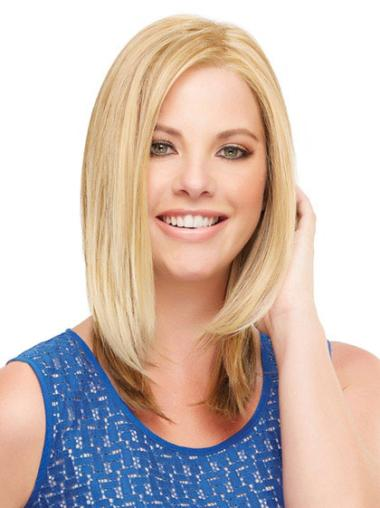 Blonde Without Bangs Straight Mature Lace Wigs
