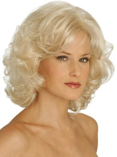 Impressive Blonde Curly Chin Length Classic Wigs