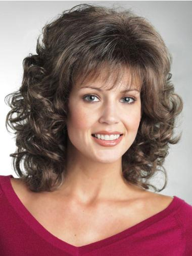 Exquisite Brown Curly Shoulder Length Classic Wigs