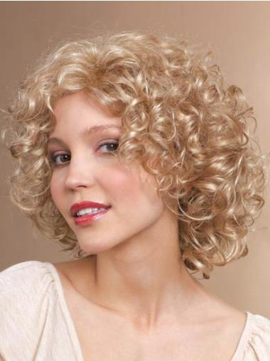 Incredible Blonde Curly Chin Length Synthetic Wigs