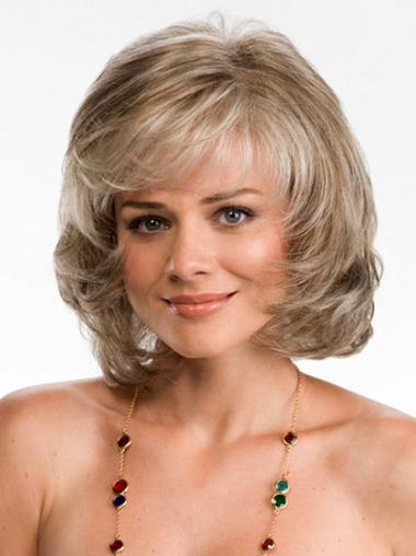 Lace Front Blonde Wavy Polite Medium Wigs