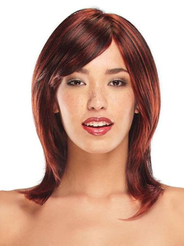 Lace Front Red Straight Graceful Medium Wigs