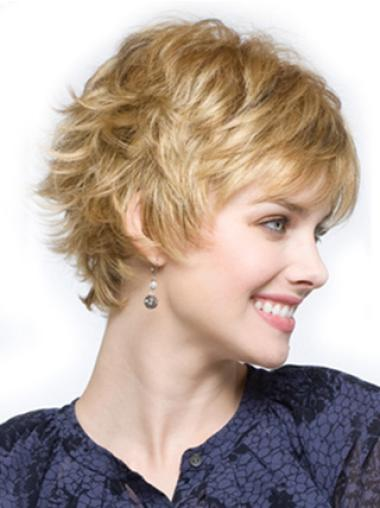 Gorgeous Blonde Wavy Cropped Synthetic Wigs