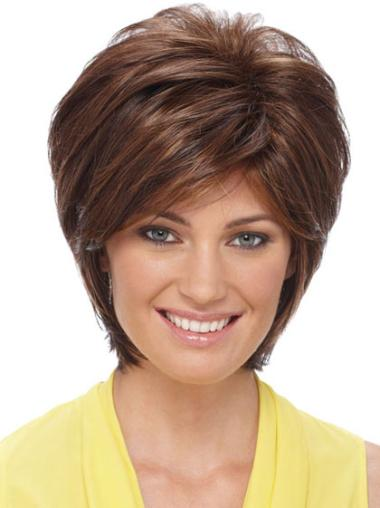 Elegant Auburn Straight Short Synthetic Wigs