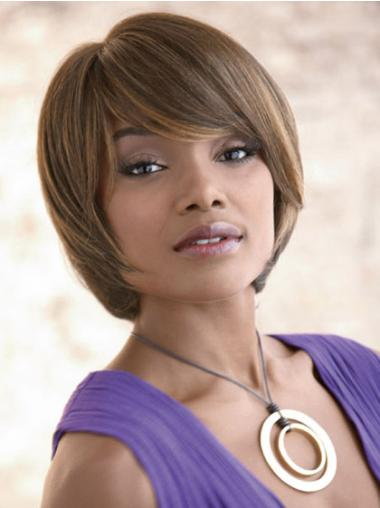 Shining Brown Straight Chin Length Synthetic Wigs