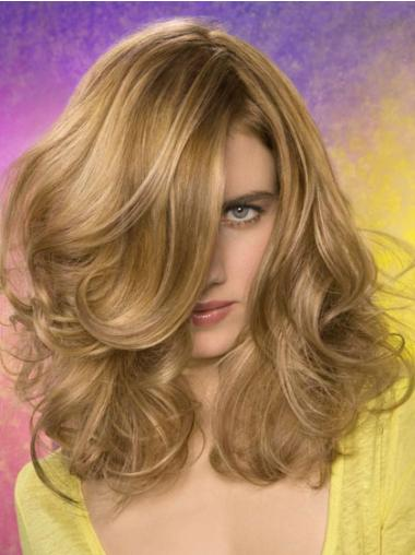 Stylish Blonde Wavy Shoulder Length Lace Front Wigs