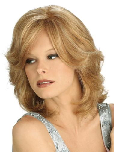 Traditiona Blonde Wavy Shoulder Length Lace Wigs