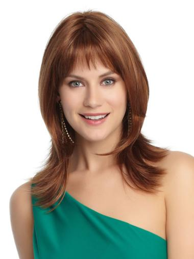 Suitable Auburn Straight Shoulder Length Petite Wigs