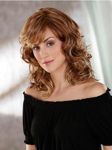 Cool Brown Wavy Shoulder Length Classic Wigs