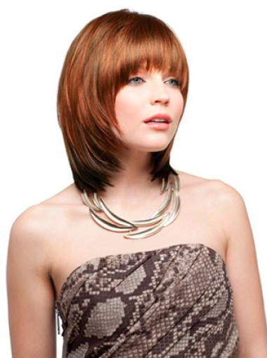 Glamorous Auburn Straight Chin Length Synthetic Wigs