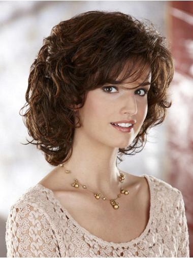 Cosy Brown Curly Chin Length Classic Wigs