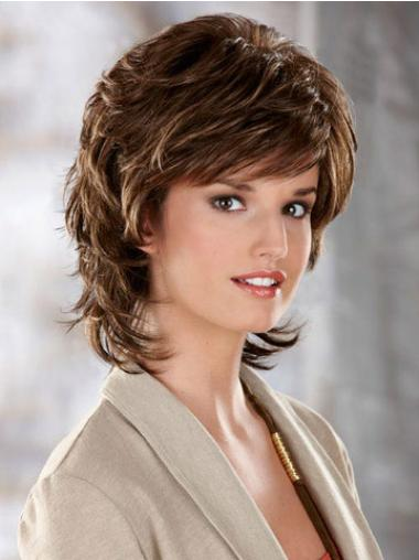 Affordable Brown Wavy Chin Length Classic Wigs