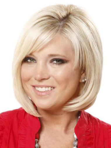 Elegant Blonde Straight Chin Length Lace Front Wigs