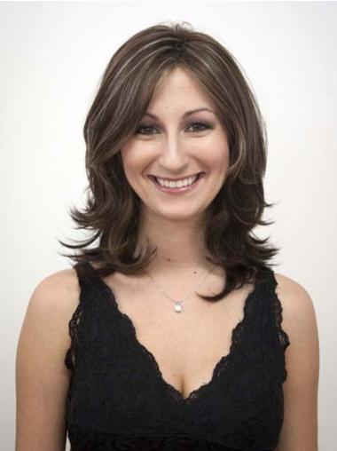 Fashion Brown Wavy Shoulder Length Synthetic Wigs