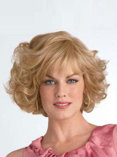 Elegant Blonde Curly Chin Length Synthetic Wigs