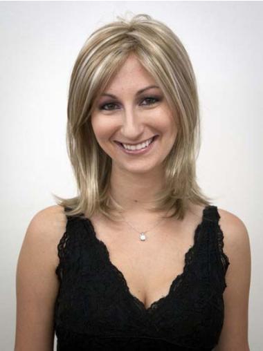 Elegant Blonde Straight Shoulder Length Synthetic Wigs