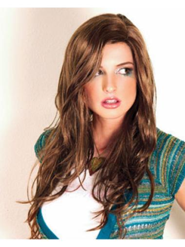 Exquisite Brown Wavy Long Synthetic Wigs