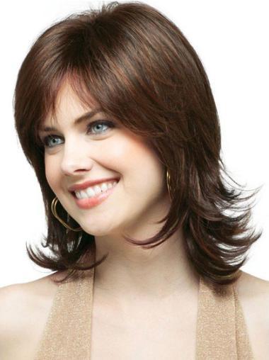 Cheap Brown Wavy Shoulder Length Classic Wigs