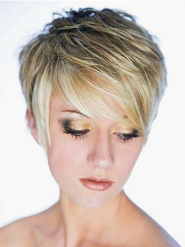 Online Blonde Straight Cropped Synthetic Wigs
