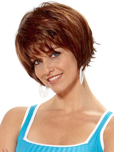 Preferential Auburn Straight Short Synthetic Wigs