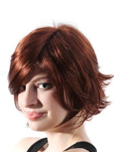 Stylish Auburn Wavy Chin Length Synthetic Wigs