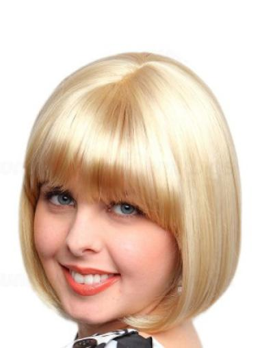 Cosy Blonde Straight Chin Length Bob Wigs