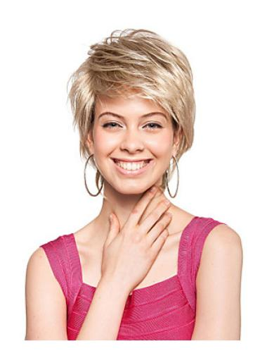 Soft Blonde Straight Short Synthetic Wigs