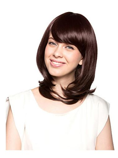 Affordable Auburn Wavy Shoulder Length Synthetic Wigs