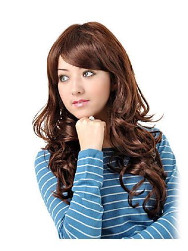 Radiant Auburn Wavy Long Synthetic Wigs