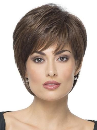 Wholesome Brown Straight Short Synthetic Wigs
