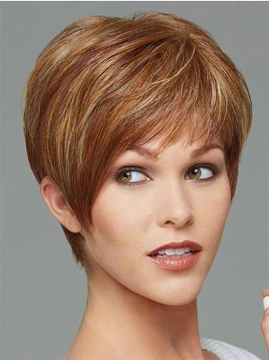 Impressive Brown Straight Cropped Synthetic Wigs