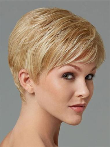 Perfect Blonde Straight Cropped Synthetic Wigs