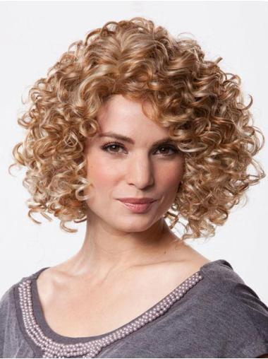 Polite Brown Curly Chin Length Petite Wigs