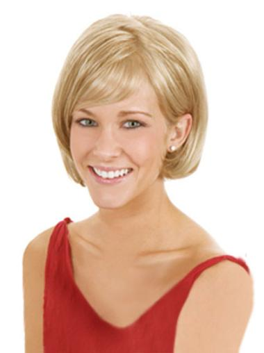Popular Blonde Straight Chin Length Lace Front Wigs
