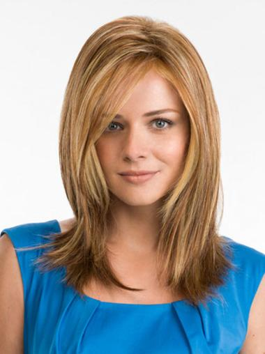 Shining Blonde Straight Long 100% Hand-tied Wigs