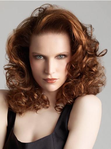 Designed Auburn Curly Shoulder Length Glueless Lace Wigs
