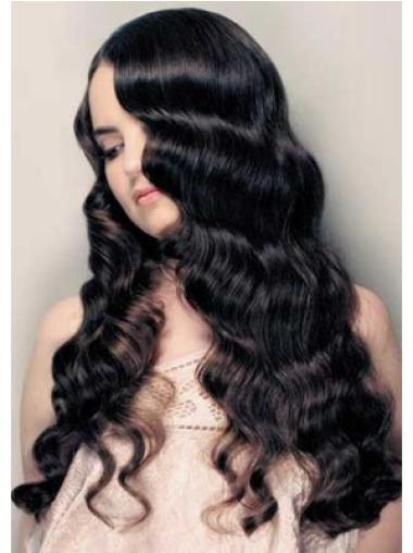 Lace Front Black Curly Glamorous Remy Human Lace Wigs