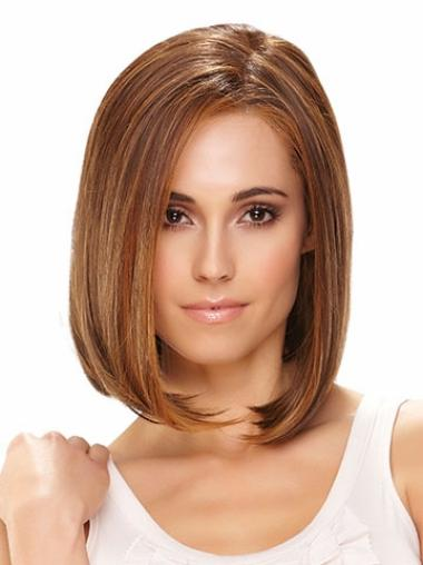 Brown Bobs Straight Top Lace Wigs