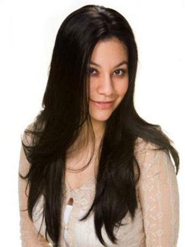 Good Black Straight Long Lace Front Wigs
