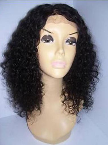 Lace Front Black Curly Great Remy Human Lace Wigs