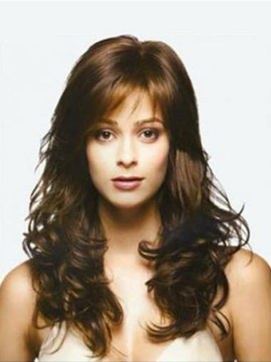 Lace Front Brown Wavy Shining Remy Human Lace Wigs