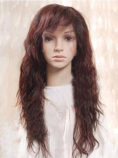 Pleasing Auburn Wavy Long Human Hair Full Lace Wigs