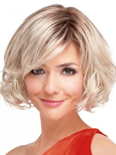No-fuss Blonde Wavy Synthetic Short Wigs