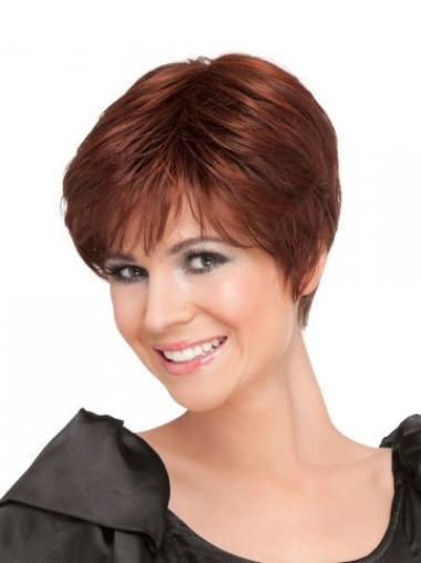Natural Red Straight Short 100% Hand-tied Wigs