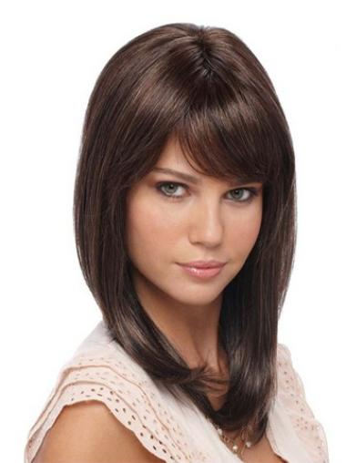 Lace Front Brown Straight Mature Celebrity Wigs