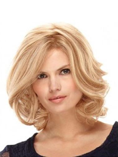 Good Blonde Wavy Shoulder Length Glueless Lace Front Wigs
